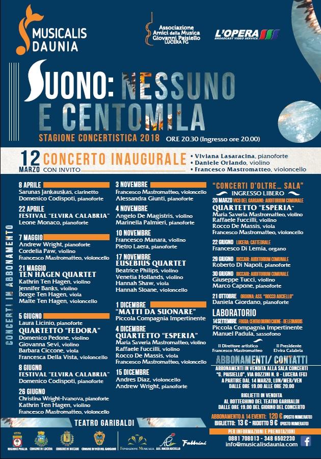 Calendario Concerti Calabria.Lucera Parte Musicalis Daunia 2018 Tutte Le Novita La