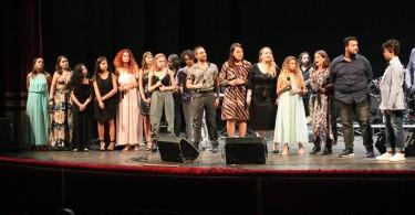 I vincitori del Talent Voice 2019 durante il concerto Amore, Guerra e Pace, II edizione al Teatro Giordano di Foggia