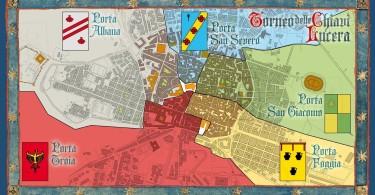 La mappa della città divisa secondo le cinque Porte