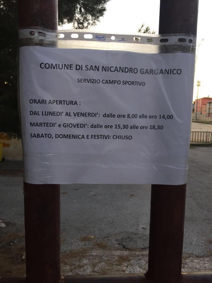 a196360ed8 SANNICANDRO GARGANICO: ANCHE LO SPORT VITTIMA DELL'INEGLIGENZA ...