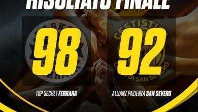 Photo of Basket: sfuma nel finale l'impresa dell'Allianz San Severo che perde a Ferrara 98-92