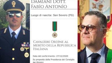 Photo of FELICITAZIONI ALL' ISPETTORE FABIO DAMIANI PER IL CONFERIMENTO DELL' ONORIFICENZA DI CAVALIERE OMRI