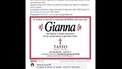 Photo of Taffo e Vladimir Luxuria per Gianna, persona trans morta ad Andria, ricordata dalla famiglia con nome da uomo.