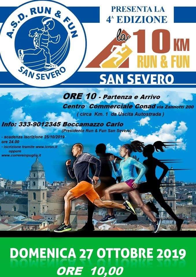 """Photo of 4^ EDIZIONE DELLA """"10 KM RUN & FUN  SAN SEVERO"""" – DOMENICA 27 OTTOBRE 2019"""